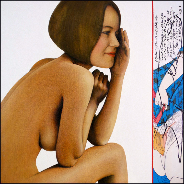ça, c'est interdit ! - Painting,  100x100x4 cm ©1970 by Daniel Moline -                                                        Figurative Art, Canvas, Nude