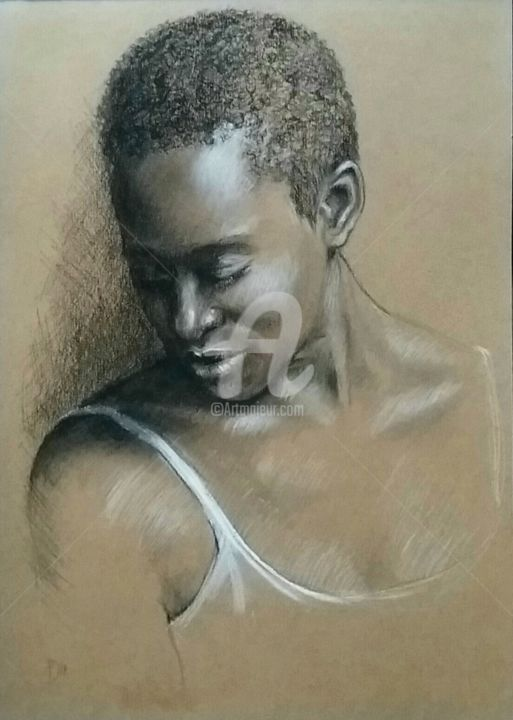Ritratto a carboncino - Drawing,  29x21 cm ©2018 by Daniela Protopapa -                                                                                                                                    Figurative Art, Classicism, Illustration, Contemporary painting, Realism, Portraiture, Paper, Women, Portraits, ritratto, portrait, woman, figurativo, black girl