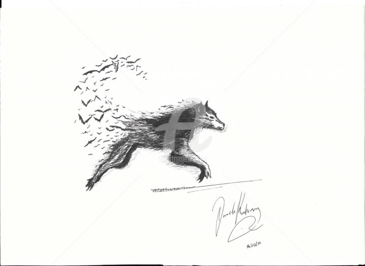Abstract Wolf Drawing By Daniela Rodrigues Artmajeur