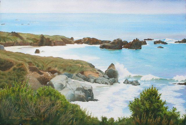 """Painting titled """"Rocks & Waves - Cal…"""" by Daniel Dayley, Original Art, Oil"""
