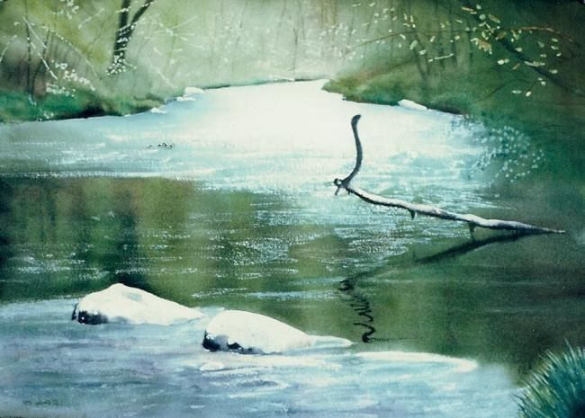 """Painting titled """"Stream in Ulster Co…"""" by Daniel Dayley, Original Art, Oil"""