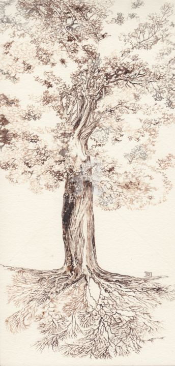 Arbr'elle - Drawing,  9.8x3.9 in, ©19 by Daniele Sanchez Dsz -                                                                                                                                                                                                                                                                                                                                                              Surrealism, surrealism-627, Tree, Women, feminin, vegetal, gaia