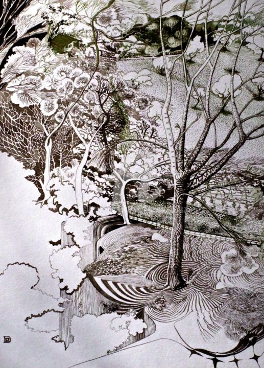 Ferrières les Verreries 1 - Drawing,  40x30x0.1 cm ©19 by Daniele Sanchez DSZ -                                                                                                                        Surrealism, Paper, Tree, Dark-Fantasy, Fantasy, Garden, Nature, Landscape, crane