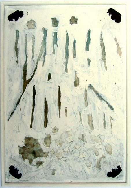 Cover-ups and Remnants (Framed with Pride by...) - Painting,  29x20 in ©2012 by Daniel Kerkhoff -                            Abstract Art, Gesso and dirt painting over an appropriated print.