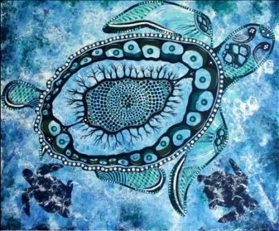 Sea Turtle Painting By Danielle Burford Artmajeur