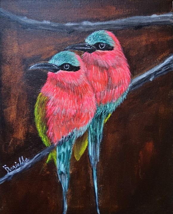 """Painting titled """"Colourful Bee-eaters"""" by Danielle Siauw, Original Art, Acrylic Mounted on Stretcher frame"""