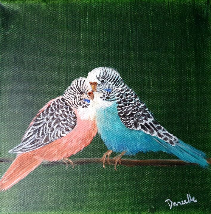 """Painting titled """"2 Little Budgies"""" by Danielle Siauw, Original Art, Acrylic Mounted on Stretcher frame"""