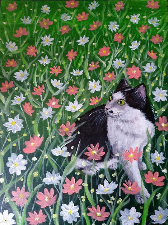 """Painting titled """"Oreo smelling the f…"""" by Danielle Siauw, Original Art, Acrylic Mounted on Wood Panel"""