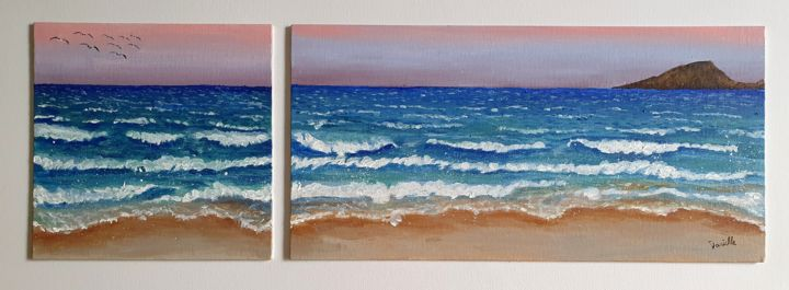 """Painting titled """"Dusk at the Beach"""" by Danielle Siauw, Original Art, Acrylic Mounted on Wood Panel"""