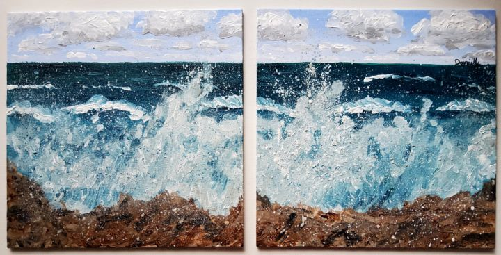 """Painting titled """"Waves thrashing the…"""" by Danielle Siauw, Original Art, Acrylic Mounted on Wood Panel"""