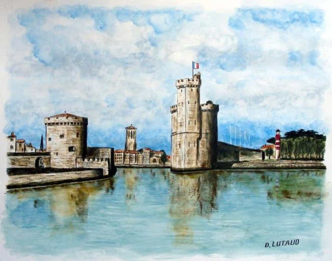port de la rochelle aquarelle sur papier daniel lutaud. Black Bedroom Furniture Sets. Home Design Ideas