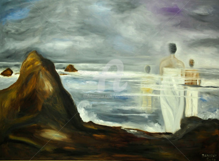 """HORIZON INCERTAIN"" (Uncertain horizon) - Painting,  80x60x2 cm ©2017 by Danygil -                                                                                                                                                                                                                                                                                                                                                Environmental Art, Figurative Art, Expressionism, Impressionism, Canvas, Love / Romance, Performing Arts, Boat, Body, Family, Women, History, Men, Light, Mortality, Nature, Landscape, Seascape, People, Beach, Fish, Seasons, Spirituality, Time, Travel, Education, hommes, femmes, corps, culture, culture du monde, Europe, Afrique, continents, International, plage, nature, paysage marin, personnes, poisson, saisons, spiritualité, education, amour, voyage"