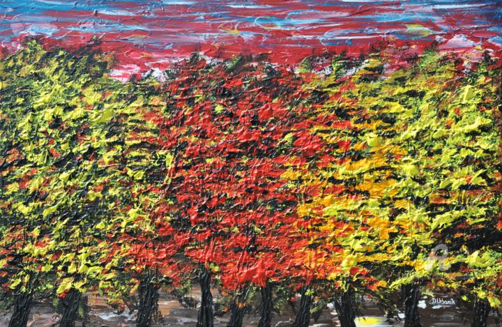 Trees - Painting,  60x90x2 cm ©2016 by Daniel Urbaník -                                                                                                                                                                                                            Abstract Expressionism, Classicism, Expressionism, Impressionism, Land Art, Modernism, Photorealism, Realism, Canvas, Botanic, Garden, Landscape, Nature, Still life, Tree, european artist, urbanik, tree, nature, landscape, impressionism, modern art, realism, autumn, forest, canvas art, acrylic painting