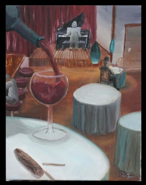 Baby Grand, Red Wine, Cigar and a Match - Painting ©2006 by Daniel Myers -