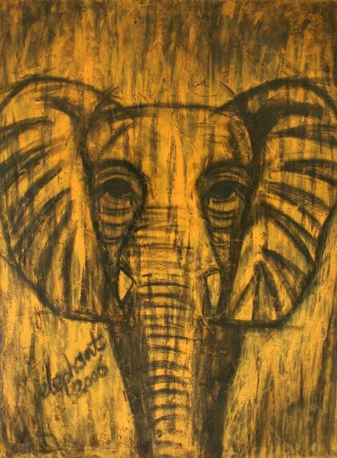 """Painting titled """"Elephant"""" by Danni, Original Art,"""
