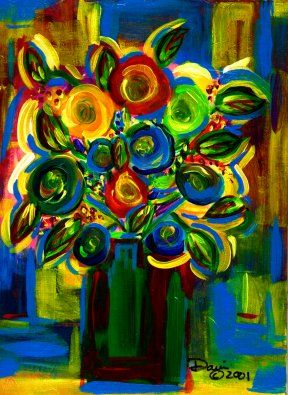 Floral Abstract #1 - Painting ©2001 by Danny Davini -