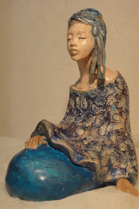 Lucie blue - Sculpture,  12x16x18 cm ©2013 by Danielle BENOTTO -                                                            Figurative Art, Ceramic, World Culture, africaines, sculptures, terre cuite