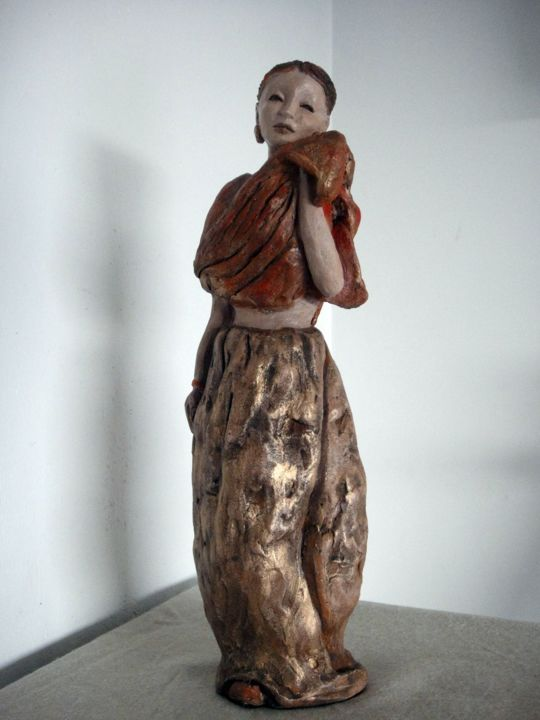 "Amala ""la pure"" - ©  sculpture femme indienne Online Artworks"
