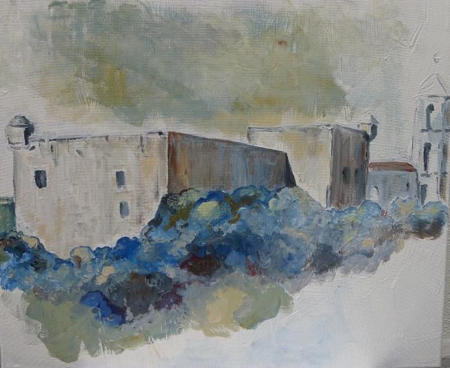 #96 - Le fort - Painting,  38x46 cm ©2012 by Dany Mangion -            Dany Mangion - Le fort
