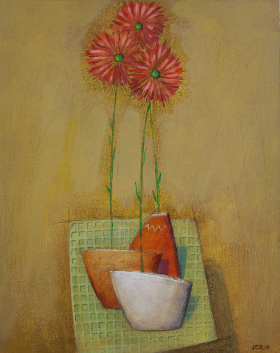 gerberas - Painting,  20x16x0.1 in ©2016 by George Darash -                                                            Contemporary painting, Paper, Flower, red, flower, orange, still life, happy