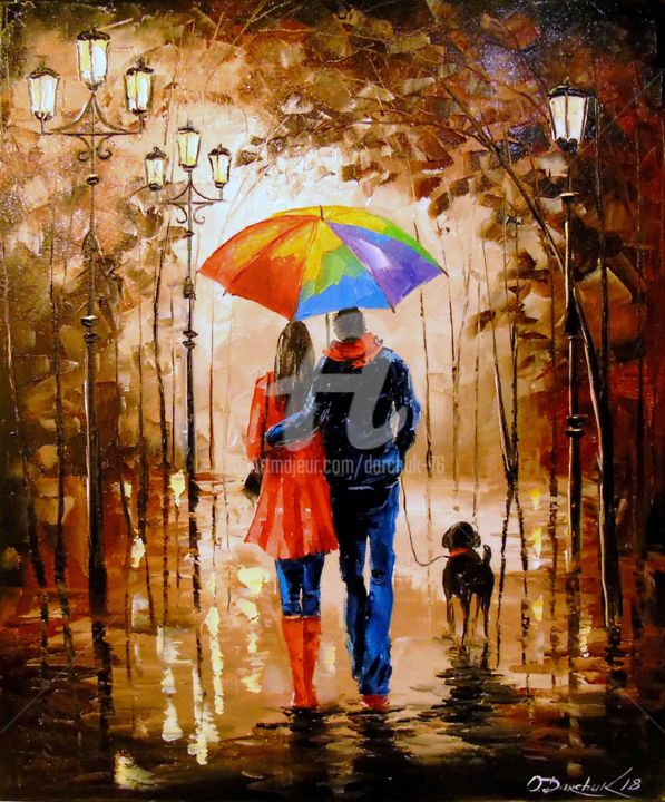 Bright walk with a friend - Painting,  23.6x19.7x0.8 in, ©2018 by Olha -                                                                                                                                                                                                                                                                                                                                                                                                                                                                                                                                                                                                                                                                                                                                                                          Figurative, figurative-594, Botanic, Seasons, Cityscape, Tree, Women, oil, canvas, painting, nature, people, bright, frend, animal, love