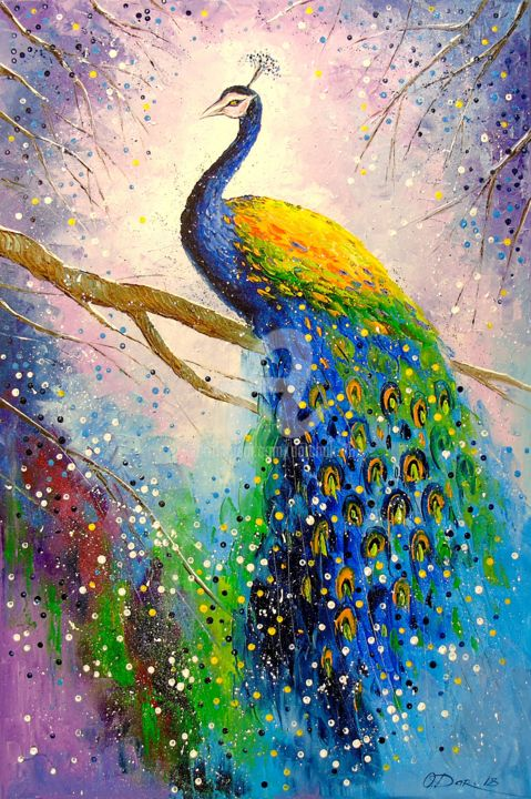 A magnificent peacock Painting by OLHA | Artmajeur
