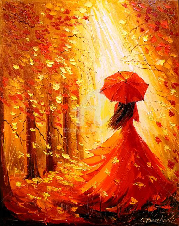 Image result for painting of a girl   autumn