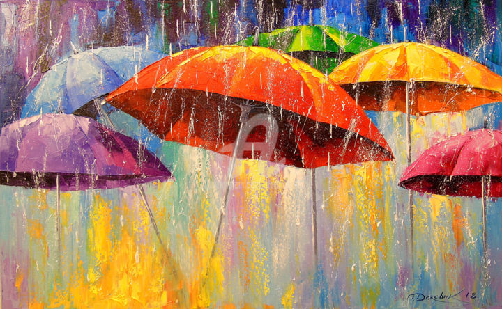 Dancing umbrellas - Painting,  19.7x31.5x0.8 in, ©2018 by OLHA -                                                                                                                                                                                                                                                                                                                                                                                                                                                                                                                                                                                                                                      Abstract, abstract-570, Abstract Art, Botanic, Seasons, Interiors, Music, Dancing umbrellas, oil, canvas, painting, nature, rain