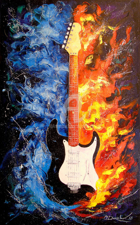 The sound of the guitar - Painting,  80x50x2 cm ©2018 by OLHA -                                                                                                                                Abstract Art, Figurative Art, Impressionism, Expressionism, Abstract Art, Interiors, Culture, Music, Colors, oil, canvas, painting, musical instrument, music, abstract