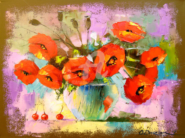 A bouquet of poppies in a vase - © 2019 flowers, poppies, nature, oil, canvas, painting, red flowers Online Artworks