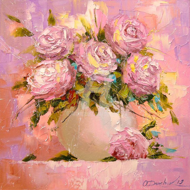 A bouquet of delicate roses - Painting,  30x30x2 cm ©2019 by OLHA -                                                                                                                        Figurative Art, Impressionism, Canvas, Botanic, Interiors, Nature, Garden, Flower, roses, nature, flowers, oil, canvas, painting