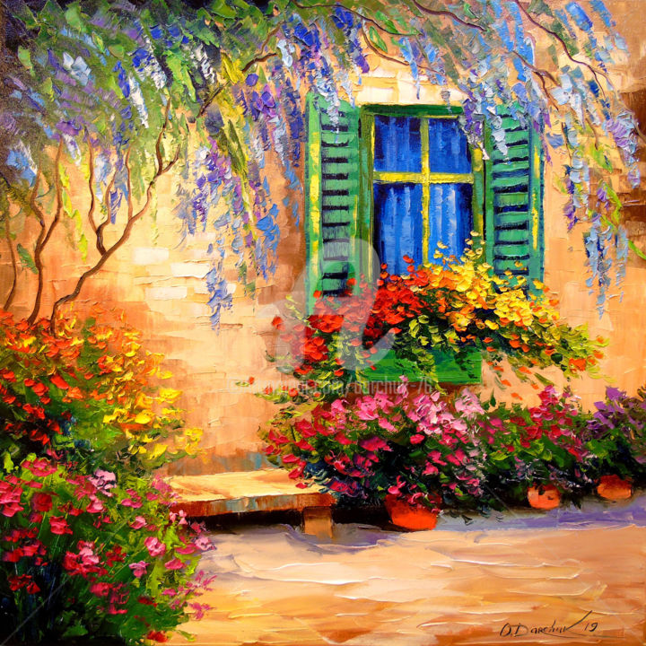 Blooming summer patio - © 2019 patio, flowers, nature, house, art, painting, oil, canvas Online Artworks