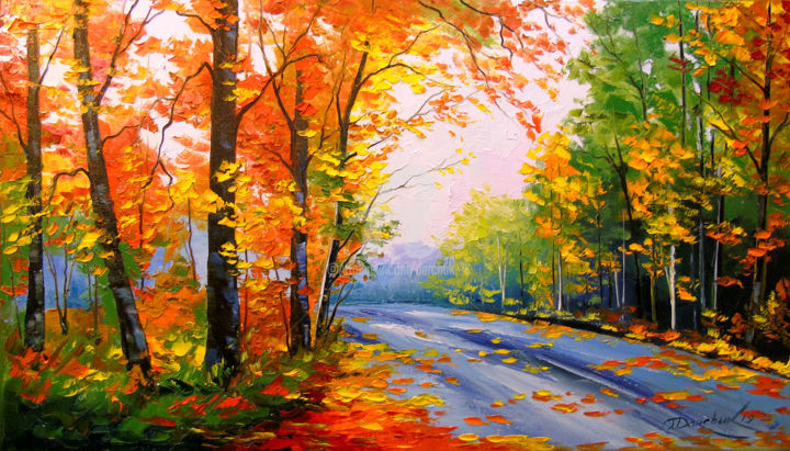 Autumn road - Painting,  40x70x2 cm ©2019 by OLHA -                                                                                                        Figurative Art, Impressionism, Botanic, Seasons, Tree, Landscape, Nature, road art, nature, landscape, oil, painting, canvas, autumn