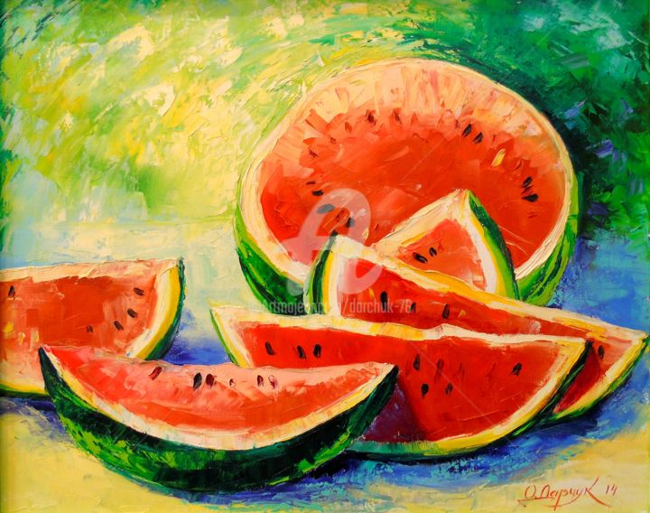 Watermelon - © 2014 Watermelon, oi, painting, nature, canvas, berry, art, frame Online Artworks