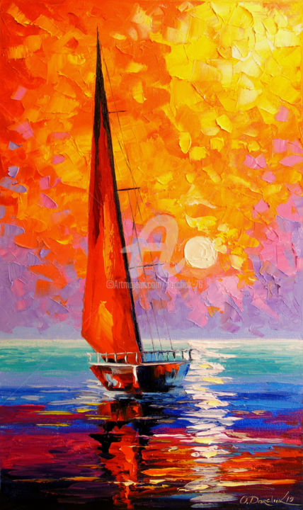 Sailboat at dawn - Painting,  50x30x2 cm ©2019 by OLHA -                                                                                                        Figurative Art, Impressionism, Botanic, Water, Seasons, Interiors, Ships, Sailboat at dawn, oil, painting, canvas, landscape, nature, sea, boats, art