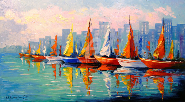 Sailboats in the Bay - Painting,  50x90x2 cm ©2019 by OLHA -                                                                                                    Figurative Art, Impressionism, Architecture, Water, Cities, Cityscape, Home