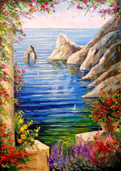 View of the rocks - Painting,  70x50x2 cm ©2019 by OLHA -                                                                                                        Figurative Art, Impressionism, Botanic, Seasons, Mountainscape, Interiors, Places, View of the rocks, oil, canvas, painting, nature, landscape, flowers