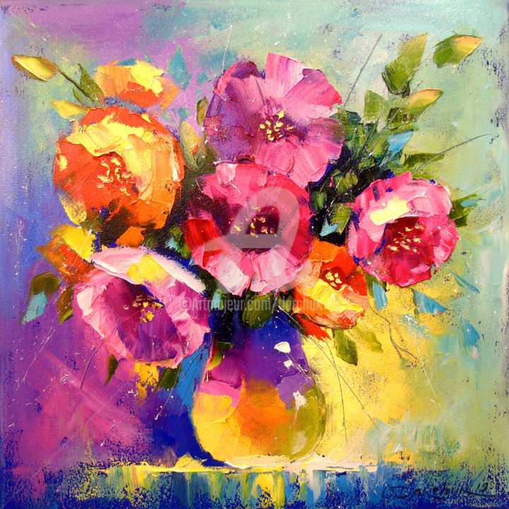 A bouquet of spring flowers - Painting,  40x40x2 cm ©2019 by OLHA -                                                                                            Impressionism, Botanic, Seasons, Interiors, Nature, Garden, flowers, nature, art, oil, painting, canvas, bouguet
