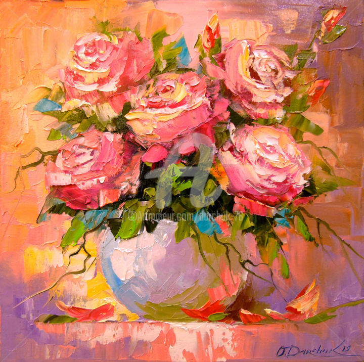 Bouquet of delicate roses - © 2019 roses, flowers, nature, oil, painting, canvas, colorful art Online Artworks