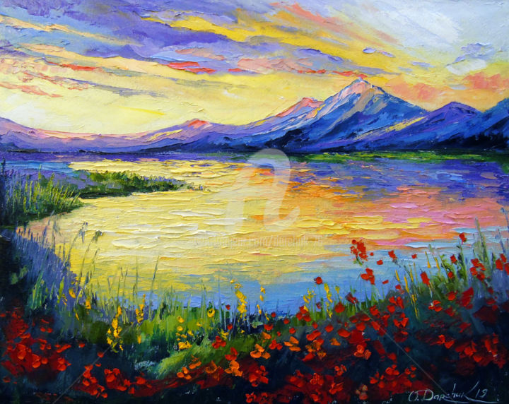 Poppies on the lake by the mountains - Painting,  40x50x2 cm ©2019 by OLHA -                                                                                                                                                            Figurative Art, Impressionism, Canvas, Botanic, Mountainscape, Interiors, Places, Landscape, Nature, Colors, Flower, oil, painting, art, landscape, nature, colorful, lake, water