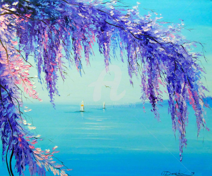 Wisteria by the sea - Painting,  50x60x2 cm ©2019 by OLHA -                                                        Figurative Art, Impressionism, Botanic, Wisteria by the sea, oil, painting, landscape, nature, colorful, trees, boats, art