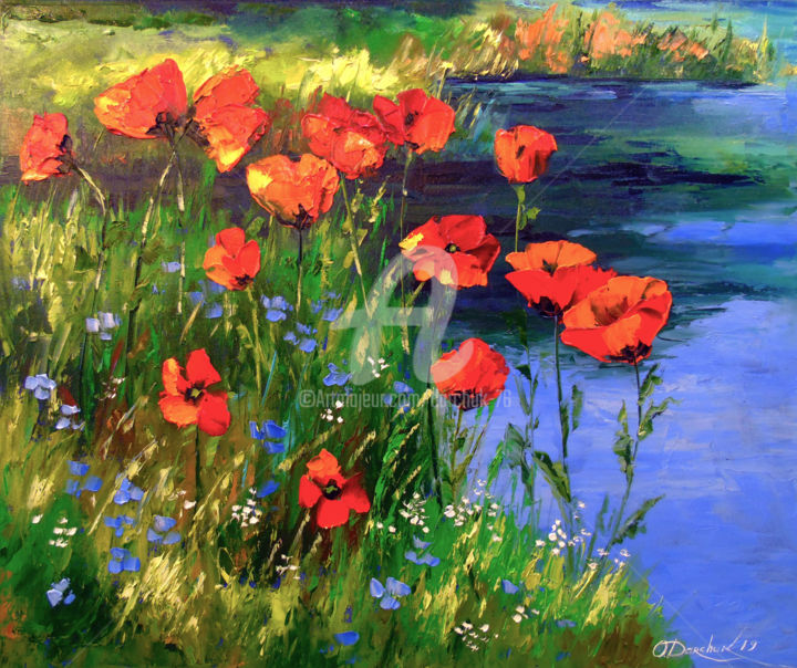 Poppies at the pond - © 2019 Poppies at the pond, oil, painting, colorful, nature, landscape, flowers, pond art, colorfull, work art Online Artworks