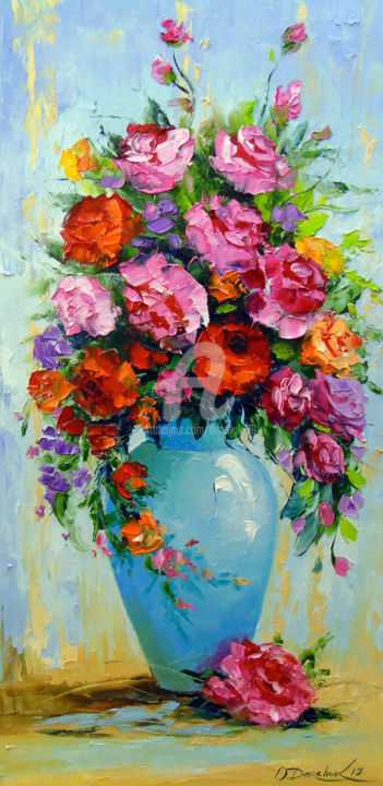 Bouquet of roses in a vase - Painting,  60x30x2 cm ©2019 by OLHA -                                                                                                                                                Figurative Art, Impressionism, Canvas, Botanic, Seasons, Still life, Nature, Garden, Colors, Flower, Bouquet of roses in a vase, nature, bouguet, roses art, flowers art, colorful, colorfull, painting, oil, canvas art