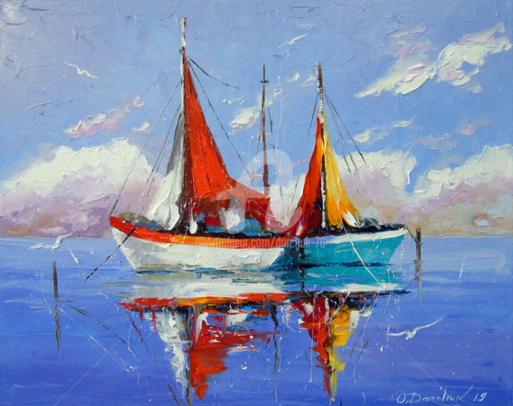 Sailboats anchored - © 2019 Sailboats anchored, oil, painting, nature, landscape, canvas, sea art, boats art, colorfull Online Artworks