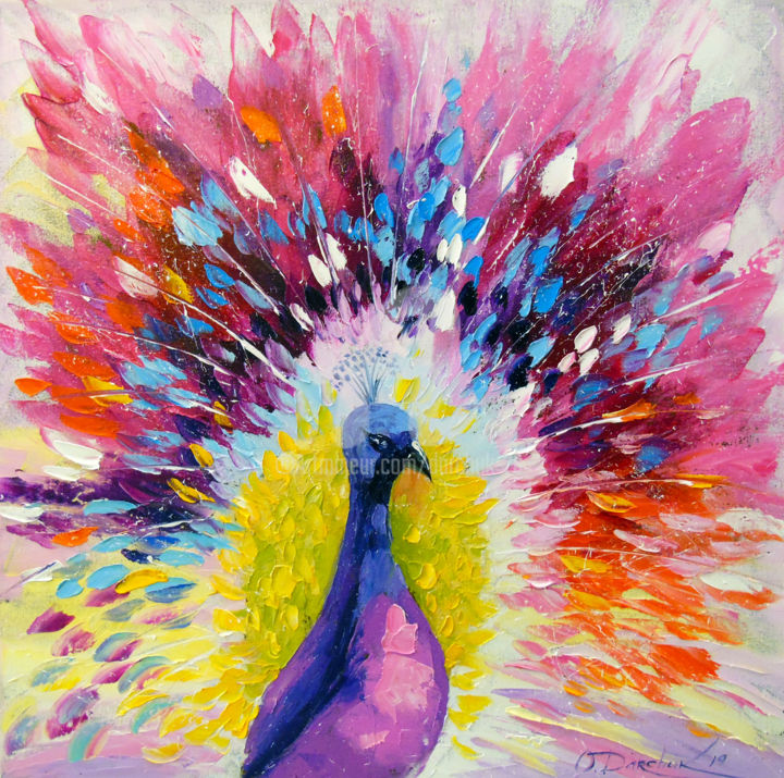Peacock - © 2019 Peacock, art, oil, painting, bird, birds, animal, nature, colorful, colorfull, canvas Online Artworks