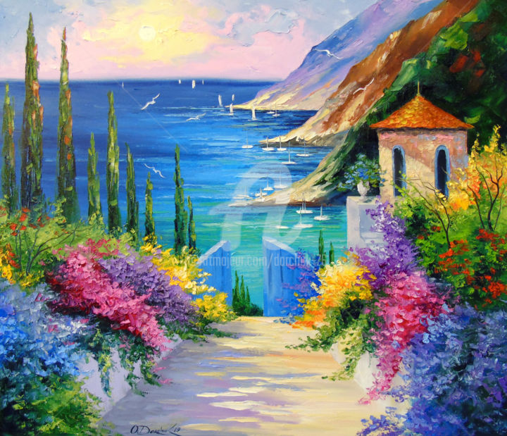 Sunny road to the sea - Painting,  60x70x2 cm ©2019 by OLHA -                                                                                                                                                                                                                                    Figurative Art, Impressionism, Canvas, Architecture, Botanic, Water, Seasons, Mountainscape, Tree, Home, Interiors, Boat, Seascape, Landscape, Nature, Colors, Flower, oil, painting, nature art, landscape, colorful, colorfull, sea art, rock art, flowers art