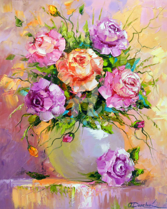 Bouquet of roses - © 2019 oil, painting, nature, art, flowers, colorful, colorfull, flowers art, roses art, bouguet art Online Artworks