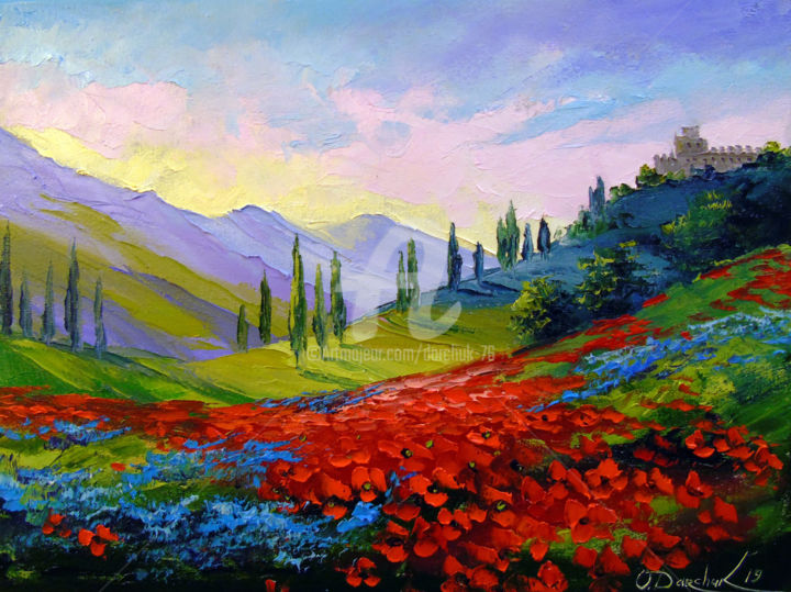 The castle on the mountain - Painting,  30x40x2 cm ©2019 by OLHA -                                                                                                                                                                        Figurative Art, Impressionism, Canvas, Botanic, Seasons, Mountainscape, Tree, Interiors, Landscape, Nature, Colors, Flower, oil, painting, nature, landscape, colorful, colorfull, flowers