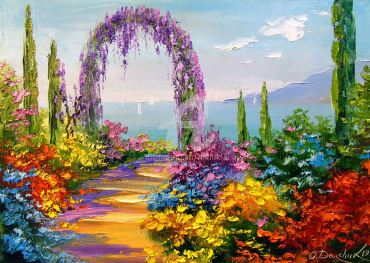 Blooming arch - Painting,  25x35x2 cm ©2019 by OLHA -                                                                                                        Figurative Art, Impressionism, Botanic, Seasons, Tree, Interiors, Places, oil, painting, colorful, colorfull, nature, flowers, art, landscape