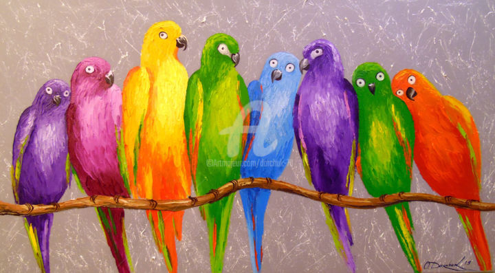 Parrots friends - Painting,  50x90x2 cm ©2019 by OLHA -                                                                                                                        Figurative Art, Impressionism, Canvas, Botanic, Seasons, Animals, Interiors, Nature, oil, painting, colorfull, parrots, animals, art, nature art, frend art